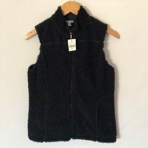 NWT J. Jill Fleece Sherpa Vest Black XS